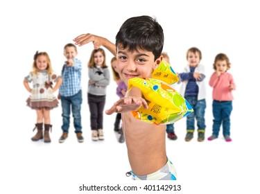 Boy doing swimming gesture