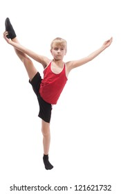 Boy doing vertical splits, on white background