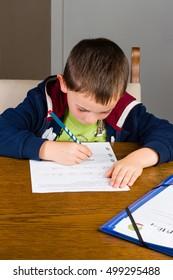 Boy doing writing, homework in a living room. Birds eye view