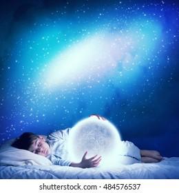 Boy dreaming before sleep