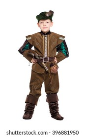 A boy dressed as the medieval hunter. Isolated on white
