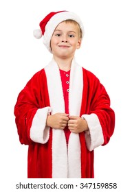 Boy dressed as Santa Claus on a white background