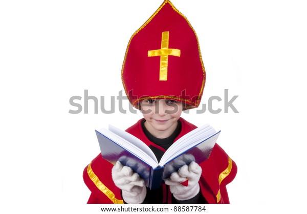Boy dressed up as Sinterklaas