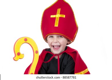 Boy dressed up as Sinterklaas laughing