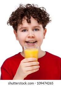 Boy drinking orange juice isolated on white background