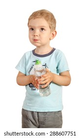 boy drinks water from a bottle on a white background