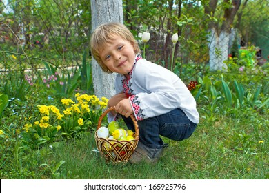 Boy with Easter Basket hunting on Easter Eggs