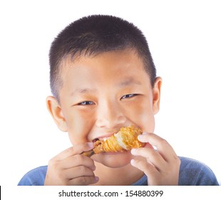 A boy eat chicken with isolated background