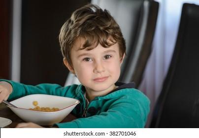 Boy eating cerial