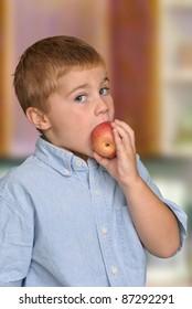 Boy Eating Healthy Apple