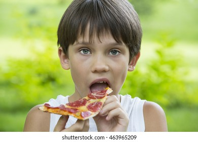 boy eating pizza on the nature