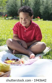Boy eating sandwich at picnic