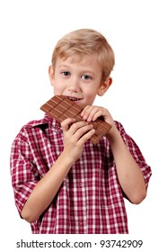 boy eats chocolate