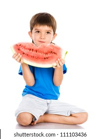 the boy eats a water-melon. isolated on white background