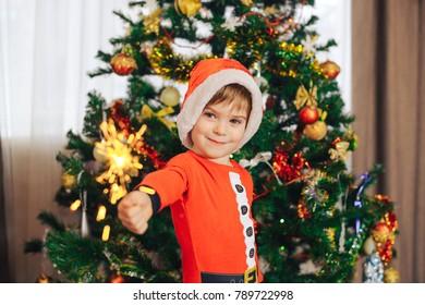 boy in elf costume near Christmas tree  sc 1 st  Shutterstock & Happy Kids Decorating Christmas Tree Ornaments Stock Photo (Royalty ...