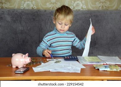 boy engaged in household finances