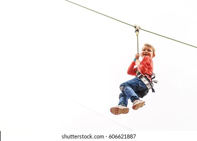 Boy at english zip wire park, London