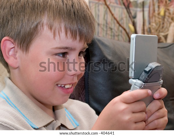 Boy enjoying computer game