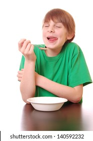 Boy Enjoys a Tasty Treat (green shirt for easy color replacement)