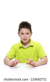 Boy explaining something