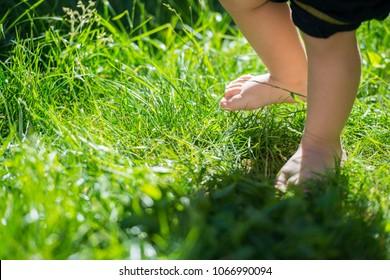 Boy feet in nature