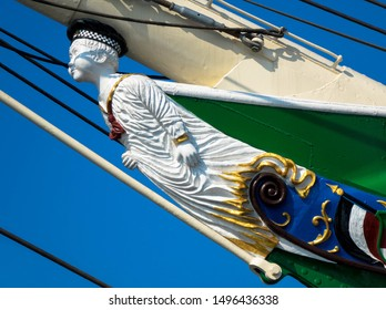 Boy figurehead on sailing ship