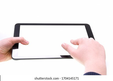Boy finger touching the white screen of tablet