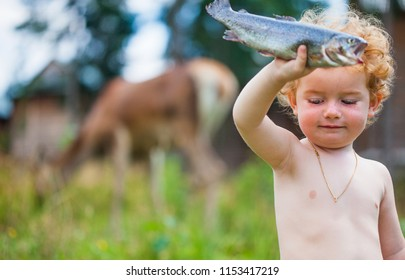 boy and fish, kid holds in a hand raw fresh fish on a background wild nature and deer that eats a grass, baby and trout,  kid fisherman fishing