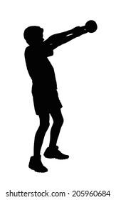 Boy Fitness Exerciser Swinging a Kettlebell Silhouette