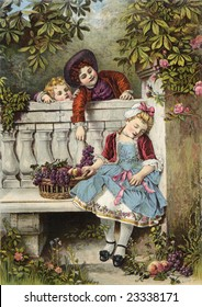 Boy flirts over the garden fence with a sleepy girl as his younger sibling looks on - a Victorian style illustration, circa 1850