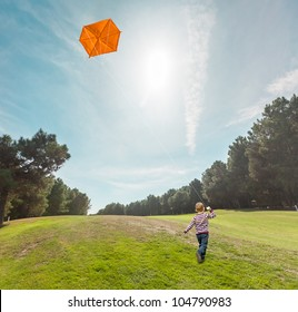 Boy flying kite in the woods