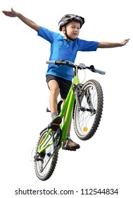 Boy flying on bicycle with swept arms like wings. Isolated on the white