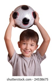 The boy with a football. Isolated on white.
