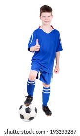 The boy in football uniform is showing a thumbs up over white background.