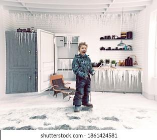 Boy  and frosen kitchen interior. 3d  conceptual illustration