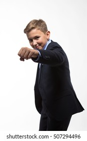Boy gentleman in a suit on a white background