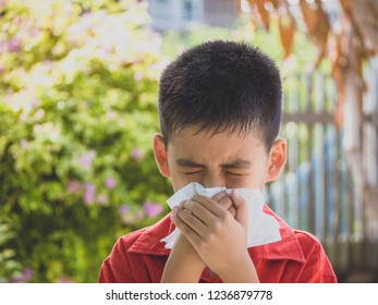 Boy get cold and blow runny nose with tissue. health concept.