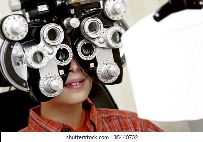 boy getting eye exam