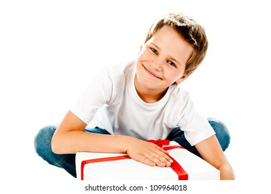 boy with gift isolated on a white background