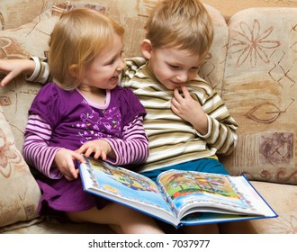 Boy and girl with the book