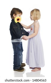 Boy and Girl Dancing with flower