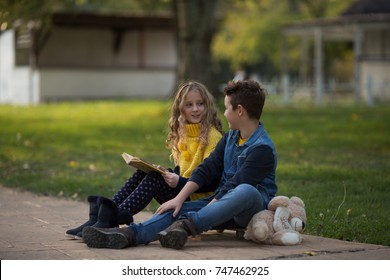 Boy and girl enjoying in park