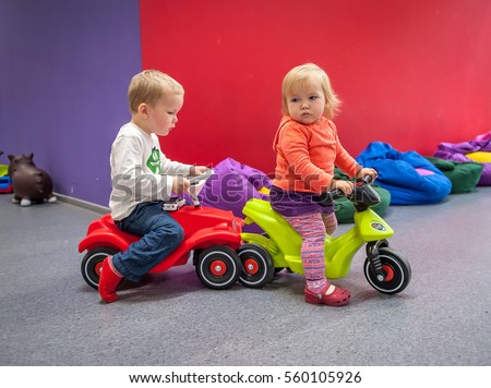 Boy Girl Have Fun Baby Kid Stock Photo Edit Now 560105926