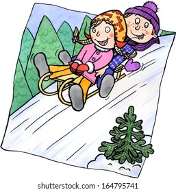 Boy and girl having fun on a sled. Watercolor and ink illustration.