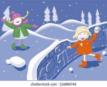 Boy and girl having fun in the winter