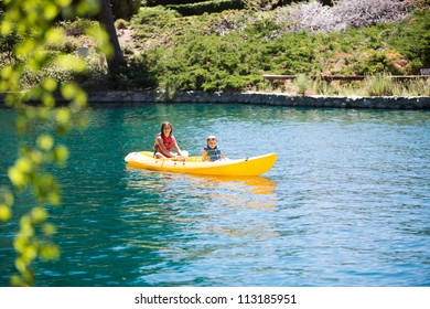 Boy and girl in kayak