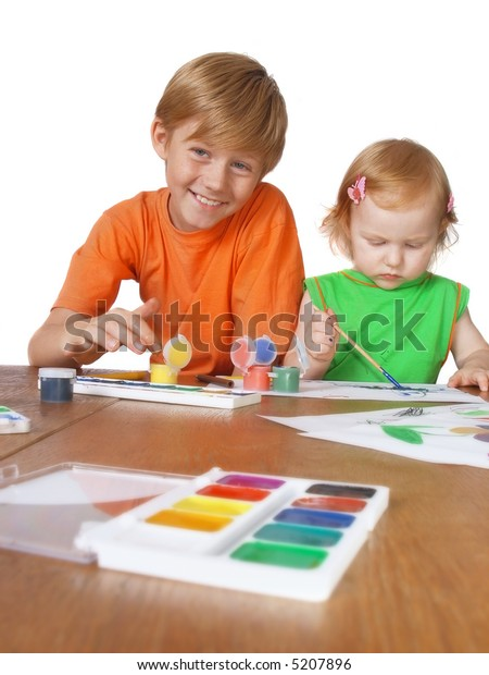 boy and girl with paint