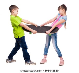 boy and girl pulling skate on sides