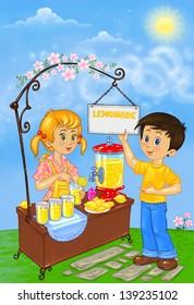 Boy and Girl Sale Lemonade  - Illustration for Children