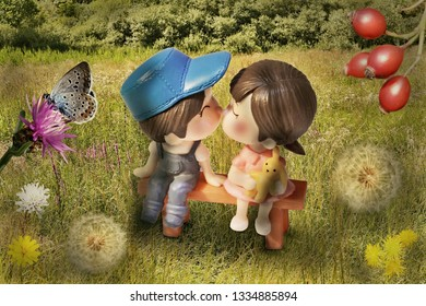 The boy and the girl sit on a bench on a green meadow and are about to kiss. Created using photomanipulation.